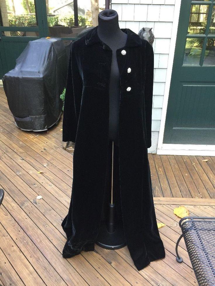 Vintage Black Velvet Lined  Evening Opera Coat  Rhinestone Buttons XS/S #Unbranded #Maxi #Formal