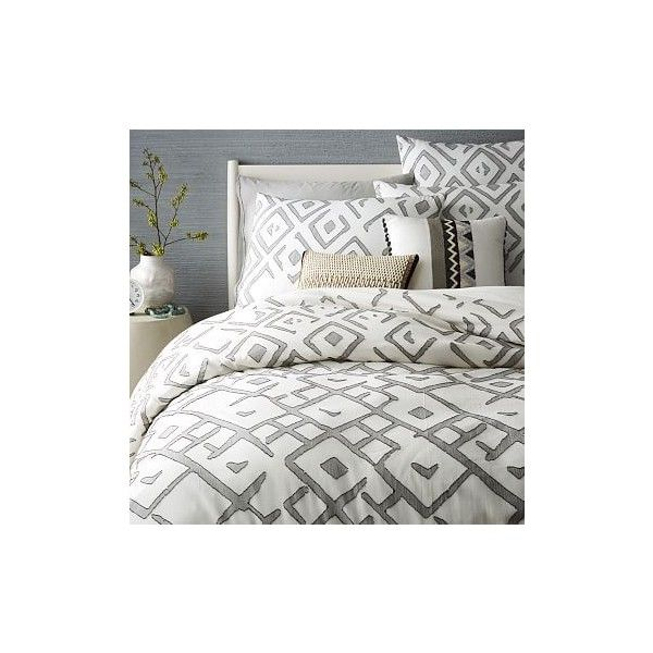West Elm Organic Fading Diamond Jacquard Duvet Cover, Twin, Slate ($139) ❤ liked on Polyvore featuring home, bed & bath, bedding, duvet covers, grey, jacquard duvet, gray bedding, west elm duvet, grey pillow shams and twin duvet