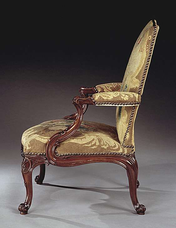 A Pair Of George II Mahogany Library Armchairs.