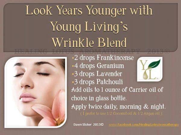 Wrinkle Blend essential oils for face - 2 drops frankincense, 4 drops geranium, 3 drops lavender, 3 drops patchouli. Add to one ounce carrier oil.