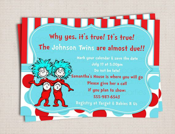 Thing 1 2 Twins Adorable Baby Shower Custom Printable Invitation Digital File 10 00 Owl Party