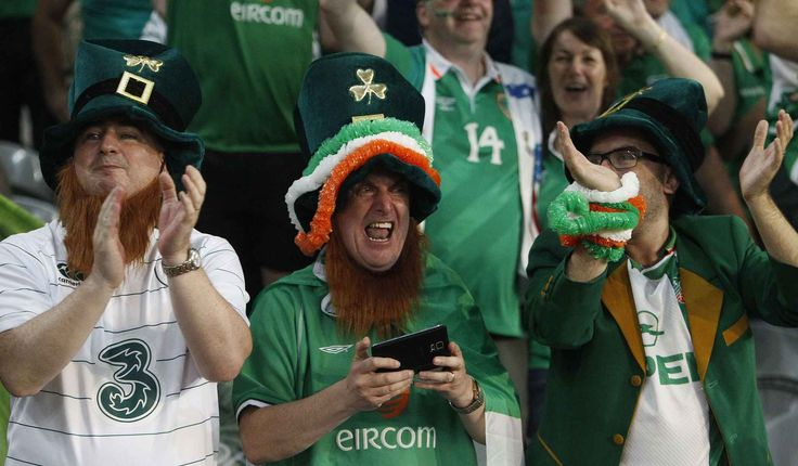 Irish supporters celebrate at the end of the Euro 2016 Group E soccer match between Italy and Ireland at the Pierre Mauroy stadium in Villeneuve d'Ascq, near Lille, France, Wednesday, June 22, 2016. Ireland won 1-0. (AP Photo/Michel Spingler)/TSX139/654000814272/1606222326