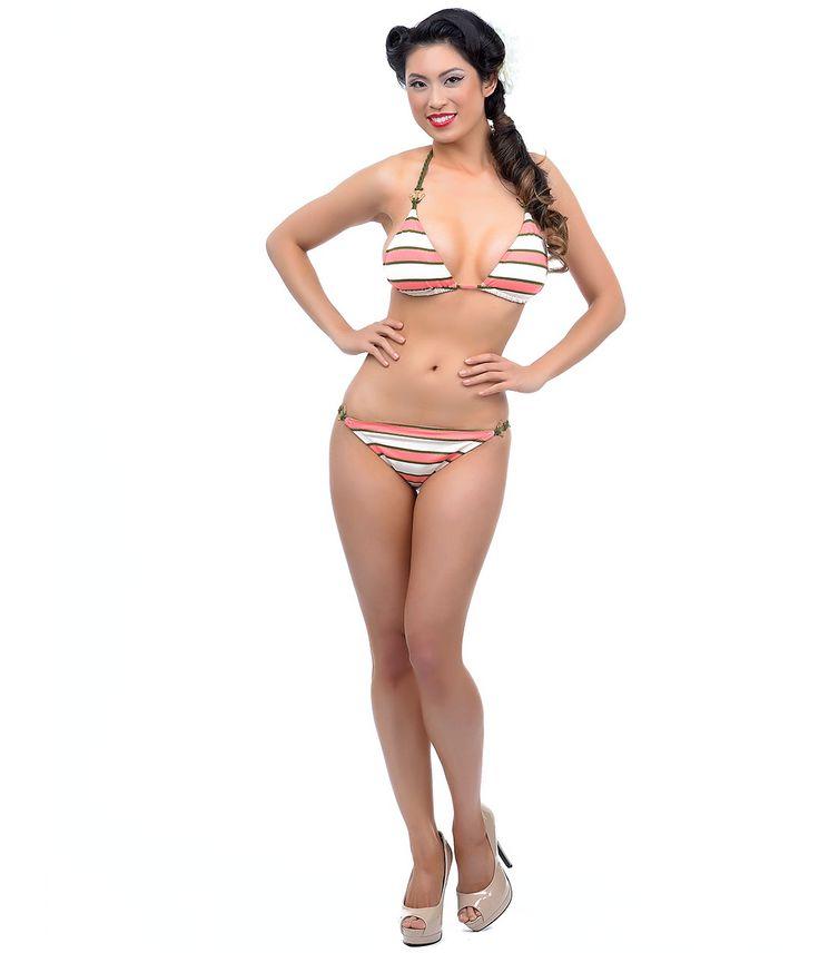 Pink, Green Cream Striped Rope Anchor Bikini (39800-MB-SW4EA80-SW4EA94) van Manhattan Beachwear Inc. - A nautical knocko...Price - $104.00-GrVm6tEo