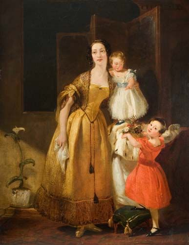 Portrait of a Lady and Children    Date: 1836 - 1838 (c.)    Description: Oil Painting by Stafford born artist John Prescott Knight (1803-1881). A portrait of a lady and two children. The woman in the portrait is probably the artist's wife, Clarissa Isabella Knight (nee Hague), the children their two sons Albert Stanley (1832-1917) and Julian Miles (1835-1871).