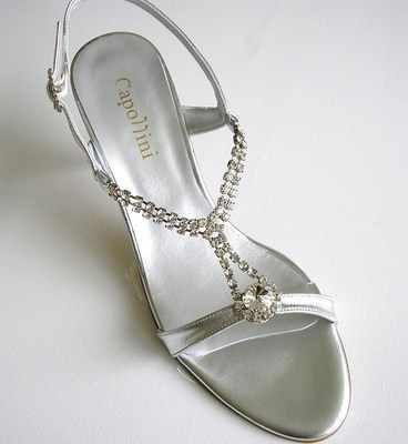 Capollini designer bridal sandals silver crystals size 5