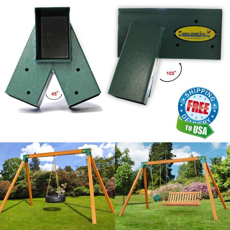 A-Frame Swing Set Brackets Complete 2 Brackets Mounting Hardware Steel Green New #EasternJungleGym