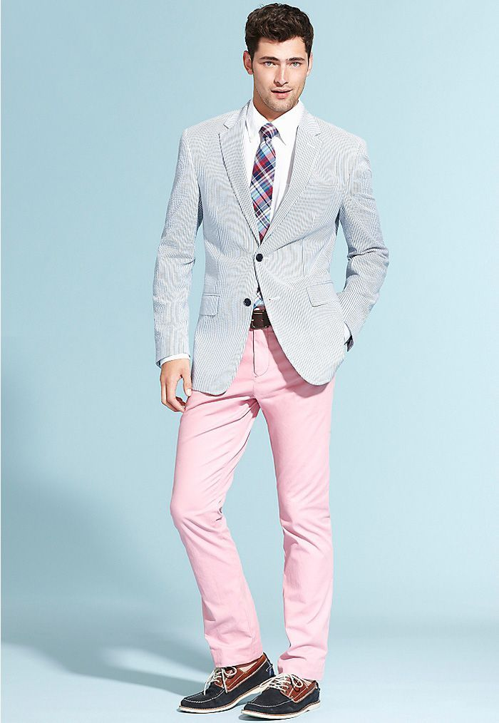 Menu0026#39;s Light Blue Seersucker Blazer White Dress Shirt Pink Chinos Navy Suede Boat Shoes ...