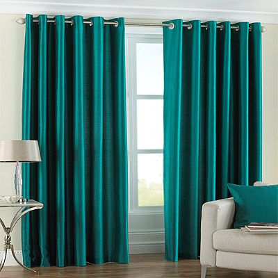 Fiji Faux Silk Eyelet Lined Curtains, Teal, 90 x 72 Inch