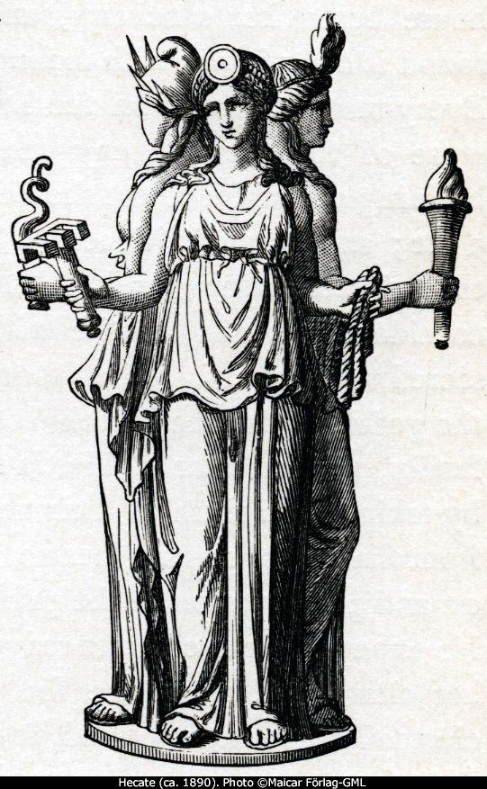 """Hecate is the goddess of pathways, Enodia, especially of cross-roads and of the offerings laid down there; the triple-form figure of Hecate arose from the three masks which were hung at the meeting of three pathways. The pathways of Hecate are pathways of the night; accompanied by barking dogs, she leads a ghostly retinue."" ( Greek Religion by Walter Burkert)"