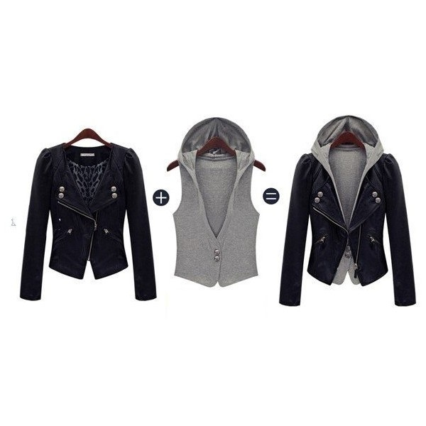free shipping Fashion women's jacket+knitwear Leather/denim/wool... via Polyvore