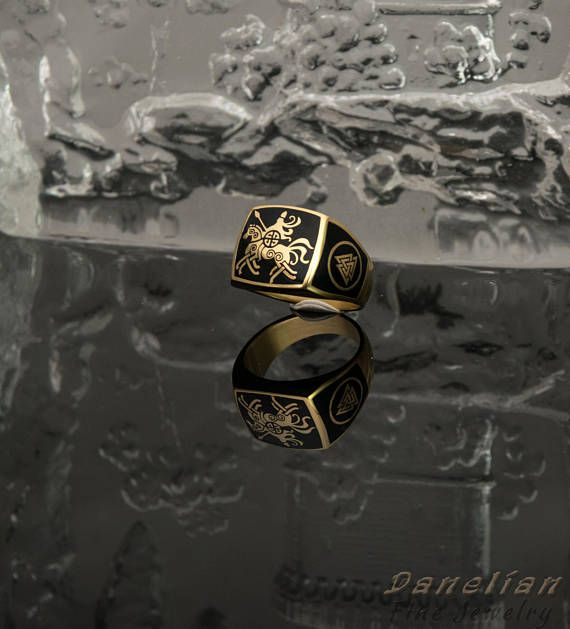 EXCLUSIVE real life jewelry design with mythical Viking medieval themed man ring. Created with black enamel and modern techniques which accentuate the details on this man ring. Sleipnir, Odin's mythical horse. #enamel #man #ring #danelianjewelry #blackring #mensfashion #vikingjewelry #viking #medieval #mensstyle #trend2018 #husband #boyfriend #gift #sleipnir #odin #nordic #mythology