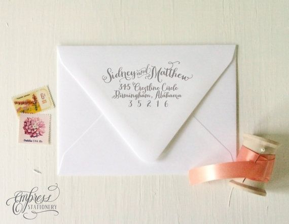 Return Address Stamp No. 06---Personalized Calligraphy, Save the Dates, Wedding, Wedding Showers, Newlyweds, Housewarming