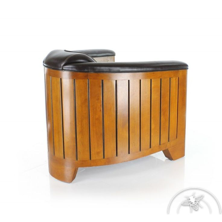 Fauteuil club cuir brun La Pérouse - SAULAIE