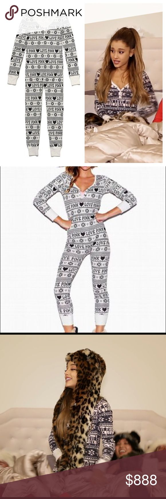 """Victoria Secret Pink Snowflake Onesie In great condition!   Size medium!  Features button up flat at the rear end Fair Isle snowflake and """"Love Pink"""" print all over   Get a head start on your fall/winter/holiday wear with this popular thermal onesie by VS PINK! ✨Hard to find in this color✨ and worn in navy blue and white by Ariana Grande in her """"Santa Tell Me"""" video. PINK Victoria's Secret Intimates & Sleepwear Pajamas"""