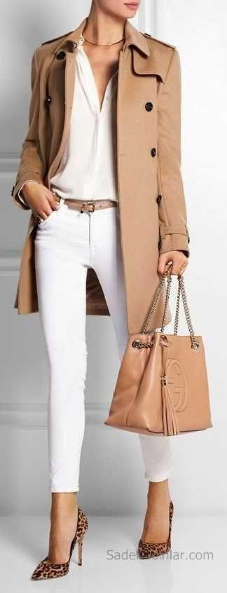 2018-2019 Sonbahar Kış Kombinleri Beyaz Pantolon Ve Gömlek Kahverengi Kaşe Mont
