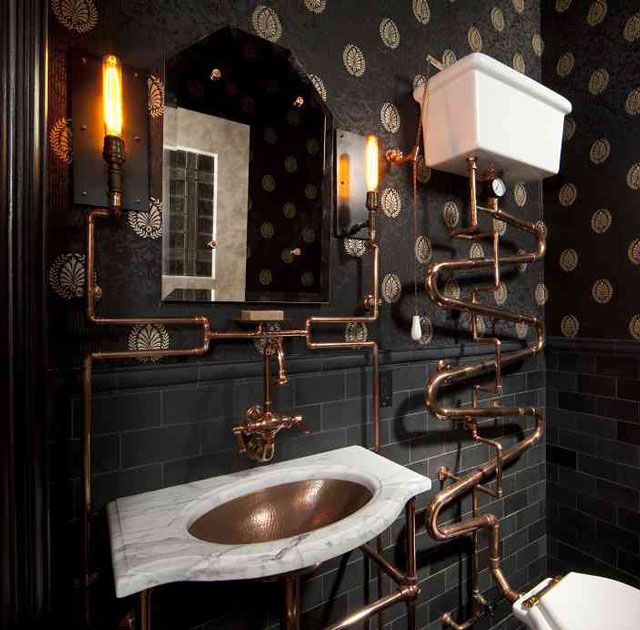 Steam Punk Powder Room concept. Things we like: - Exposed/Designed pipes - Lighting - Historically styled fixtures/toilet  Things we don't like: - Darkness