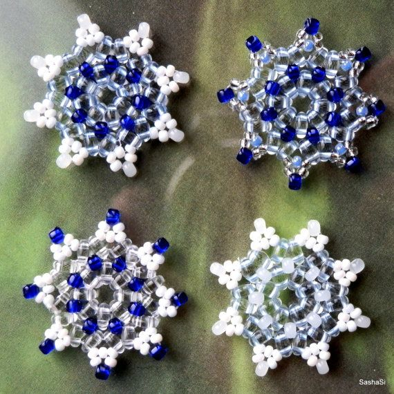 PDF TUTORIAL DOWNLOAD Beaded Snowflake with Twin Beads by SashaSi