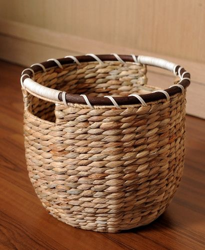 Round water hyacinth utility baskets, Large