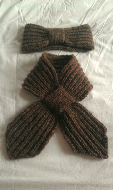 Knitted headband and matching scarf in Icelandic brioche stitch by tungufoss