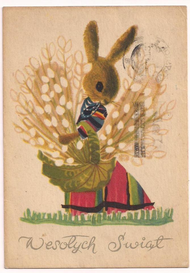 Vintage Polish Easter postcard