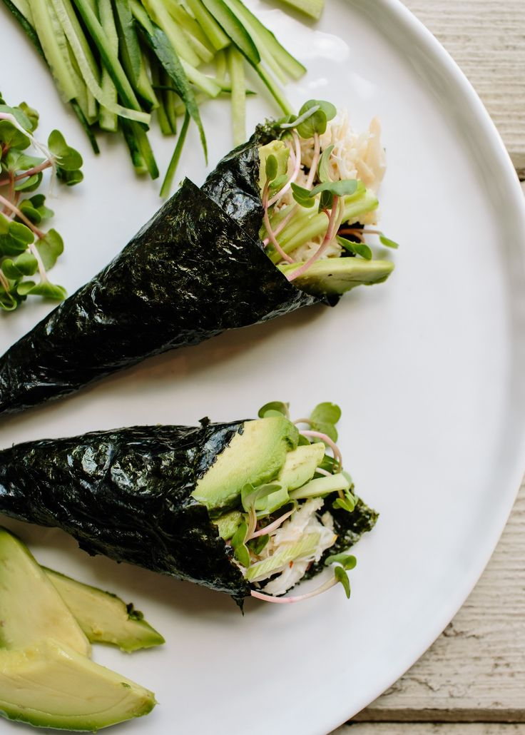 Going Paleo doesn't mean giving up sushi — especially if you make it yourself. Temaki (seaweed-wrapped hand rolls) make a regular appearance in our household because I usually have all the ingredients in my refrigerator and pantry. I simply chop up a few vegetables and make a simple crab salad before hollering at my family to assemble their own no-cook meal.