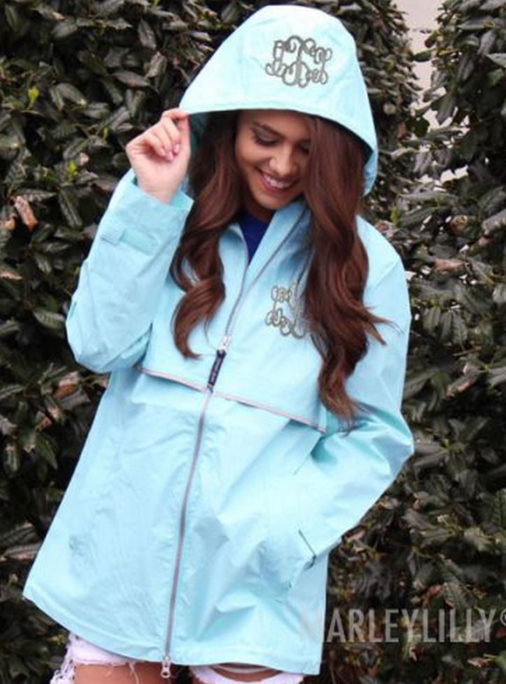 Aqua Marleylilly.com Monogrammed New England Rain Jacket - Look adorable on a rainy day! Available in 10 colors!