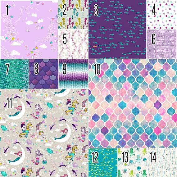 Mermaid Lullaby (Baby Bedding) Sea Turtle Seahorse Ocean Fish Purple Teal Premium Crib Bedding. Choose your Design.