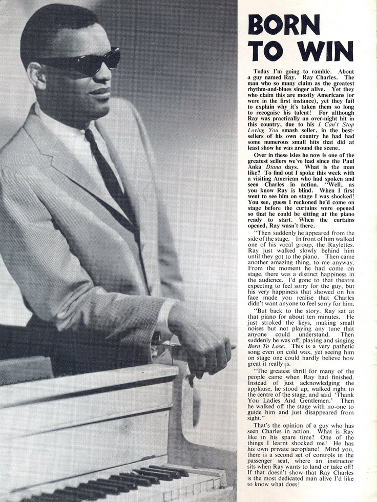 best ray charles singer piano images ray  article from early 1960s uk ray charlessingerblack