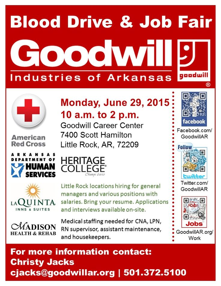 Blood Drive   Job Fair in Little Rock 10-2 Monday - MySaline - housekeepers resume