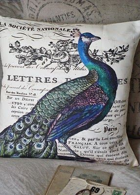 pretty peacock pillow..  Great site multitude of designs. Maybe use freezer paper to transfer to cloth....