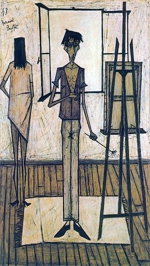 Bernard BUFFET ( 1928 - 1999 ) - Peintre Francais - French PainterBernard Buffet Le peintre et son modèle - 1948 oil on canvas - 211 x 117 cm