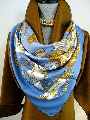 Authentic Vintage Hermes Silk Scarf Armada Blues 1976 Original issue Rare