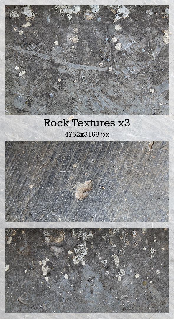 Rock Textures x3  #GraphicRiver         A great texture stunning 3 high-res rock stone images for everything from website to business cards, flyers, posters, print ads and more. Files: 4752×3168 px 100% quality .jpg files     Created: 12September13 GraphicsFilesIncluded: JPGImage Layered: No MinimumAdobeCSVersion: CS PixelDimensions: 3168x4752 Tileable: No Tags: background #cement #concrete #design #dirty #gray #grey #rock #stone #texture #wall