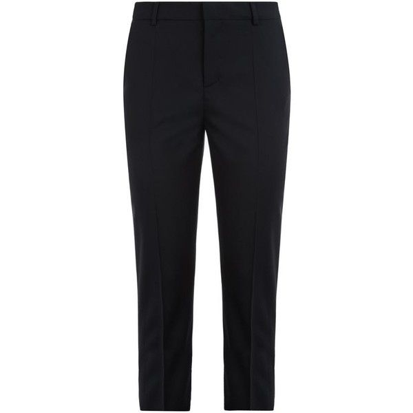 Red Valentino Cropped Tailored Trousers ($315) ❤ liked on Polyvore featuring pants, capris, slim fit formal pants, slim cropped pants, slim fit trousers, cropped pants and black crop pants