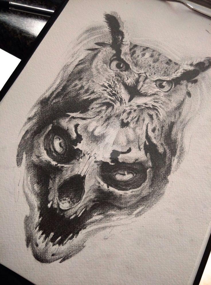 owl and skull by AndreySkull on @DeviantArt