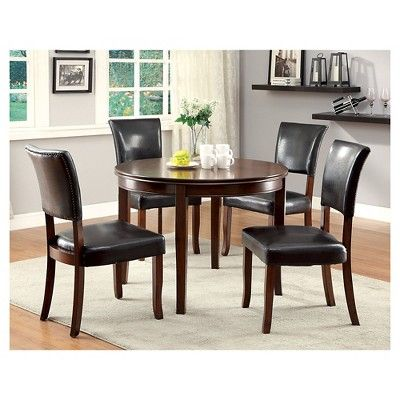5 Piece Simple Round Dining Table Set With Leatherette Seats Wood/Medium Oak - Furniture of America