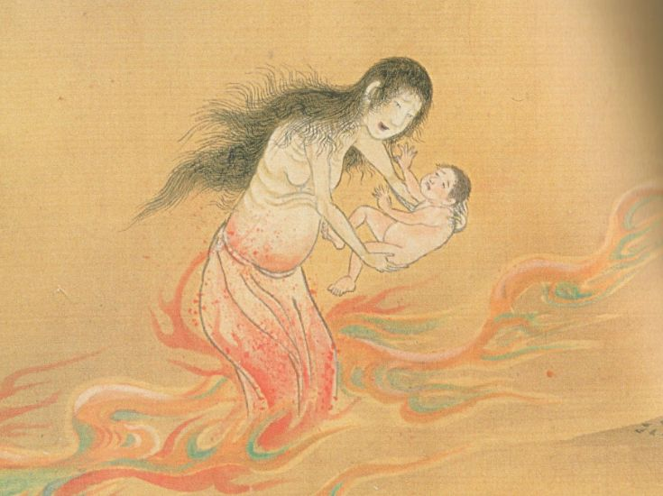 The Japanese legend of Ubume: The Ubume is a ghost of a woman who died in childbirth. She usually asks a passerby to hold her child for a moment, then she disappears when her victim takes the swaddled baby. The baby then becomes heavier, until it's impossible to hold. It's then revealed to actually be a boulder or large stone.