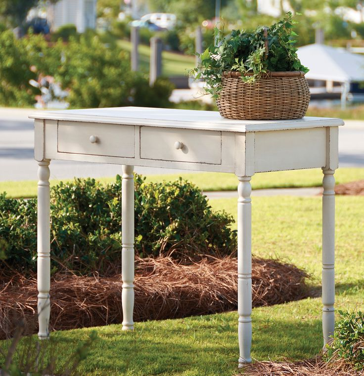 Farmhouse, cottage style writing desk or side table - I think this would also be a pretty vanity table!