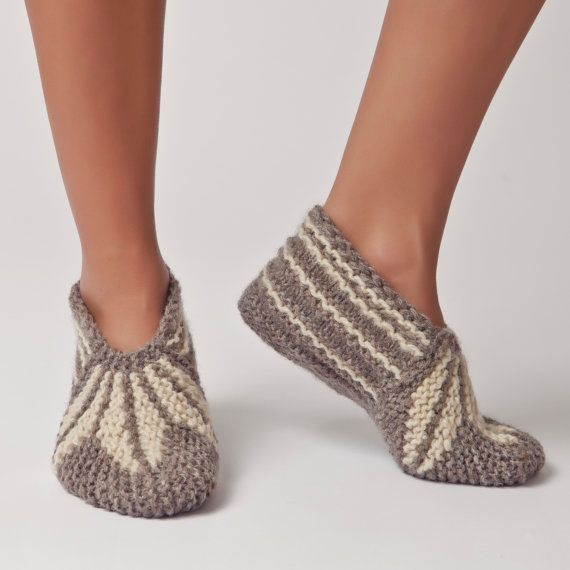 Hand Knit Wool Bulgarian Slipper Warm Soft Sock for by BlocSocks