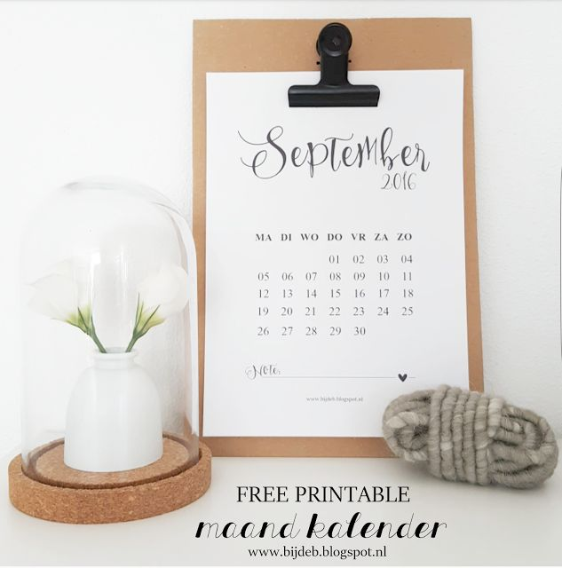 bijdeb: Free printable maandkalender September...