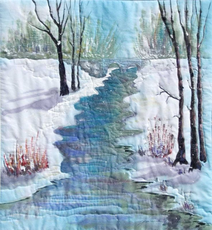 Winter QuietWatercolor Landscape quilt. Fabric art quilting is my all time love.
