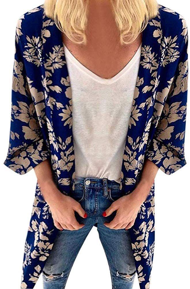 Deelin Kimono Mujer Moda De Verano Impresion Floral Suelta Cardigan Tops De Manga Corta Amazon Es Ropa Y Accesorios Kiyafet
