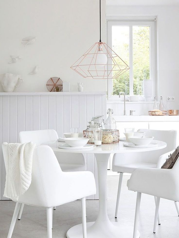 Dining Room , White Dining Room Decorating Ideas : White Dining Room With Bulb Pendant Light And Arm Chairs And Round Table