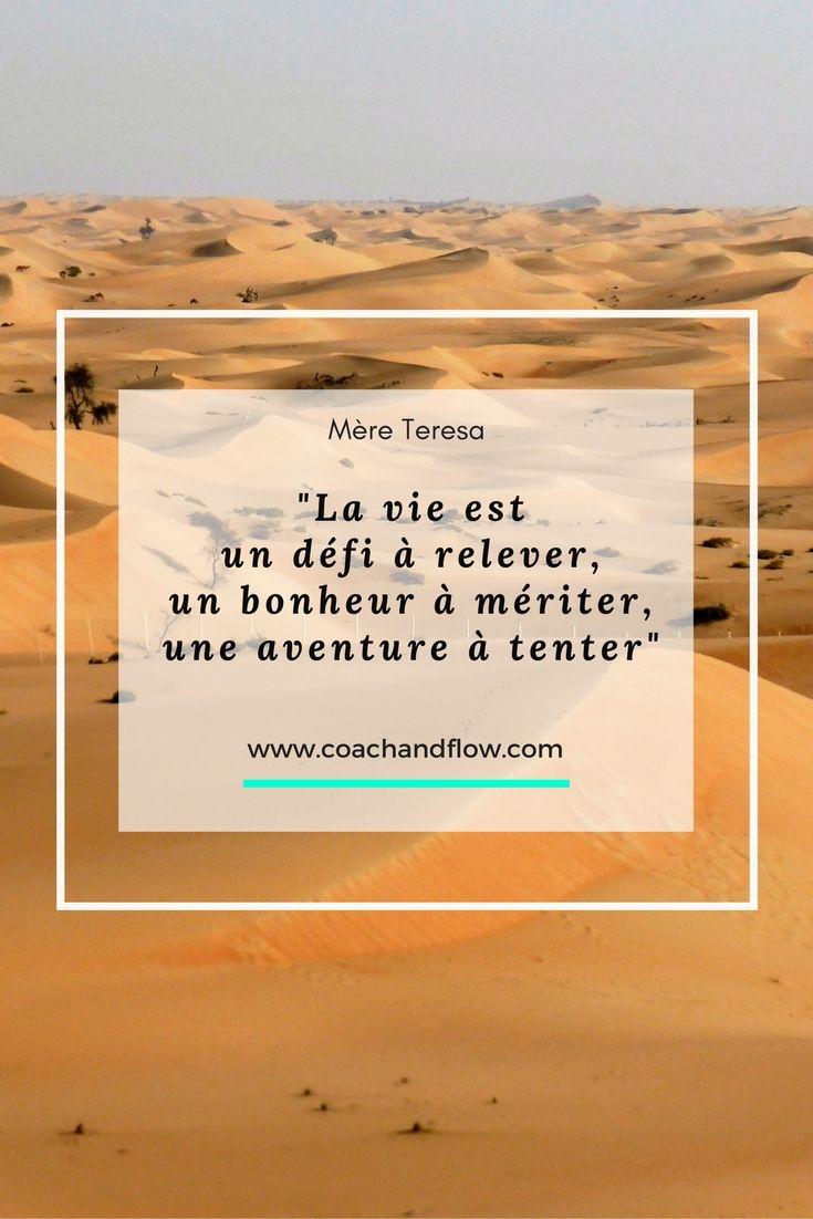 """""""Le vie est un défi à relever, un bonheur à mériter, une aventure à tenter"""" """"meretheresa #citation #quote #développementpersonnel #psychologiepositive #positivepsychologie"""