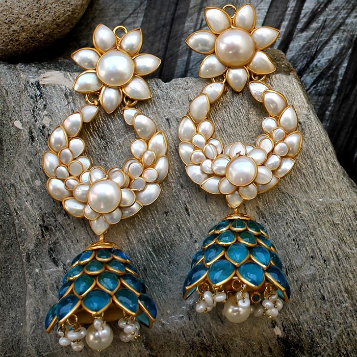 JOHARA EARRINGS Gold Plated Turquoise Blue Pachi Kundan Earring @ Indiatrend For $55.99USD