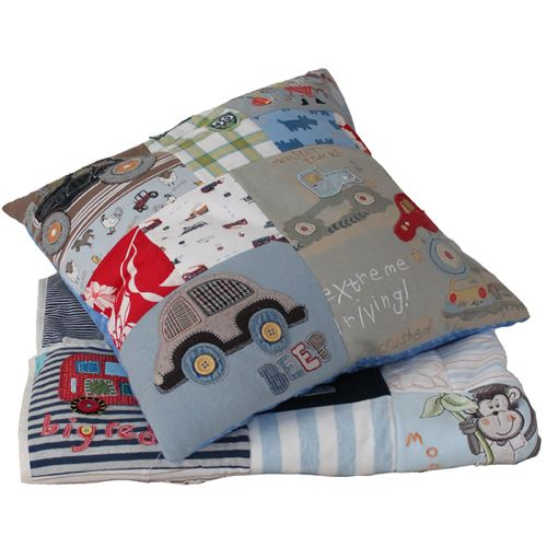 Keepsake Patchwork Memory Quilt or Pillow using baby clothes ..... I should do this with Brayden's baby clothes