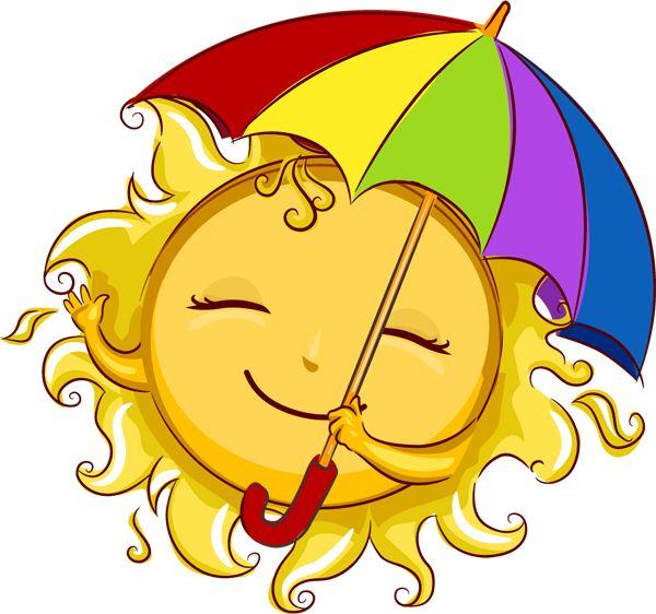 CUTE SUMMER SUN WITH IT'S SUN-BRELLA CLIP ART
