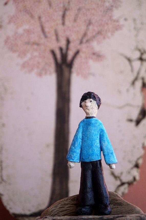 Paper Mache Boy Brooch Art Miniature Brooch Paper by irineART