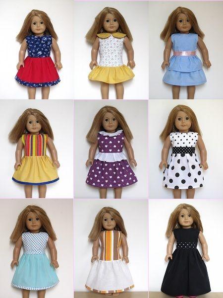 "18"" American Girl Doll clothes sewing patterns to download - DRESS COLLECTION"