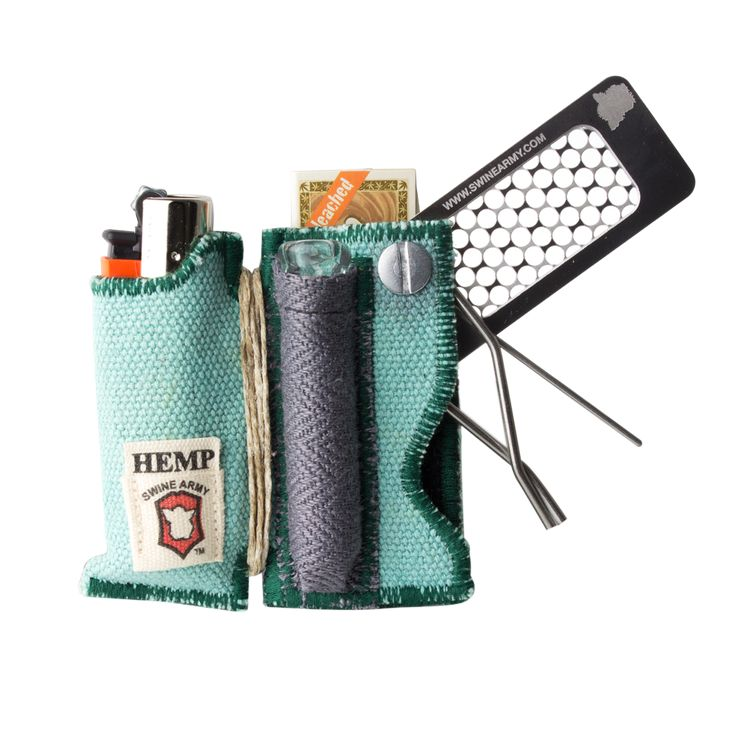 Multi-Tool with One Hitter, Lighter, Hemp Wick, Poker, Clip, Rolling Papers - Assorted Colors